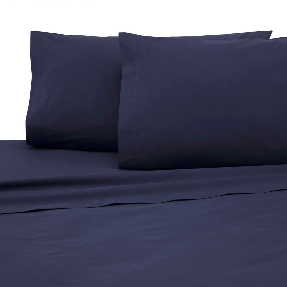 4-Piece Navy Solid 225 Thread Count Cotton Blend Queen Sheet Set
