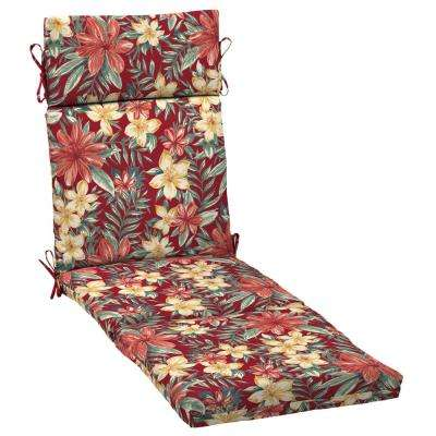 21 in. x 42.5 in. Ruby Clarissa Tropical Outdoor Chaise Lounge Cushion