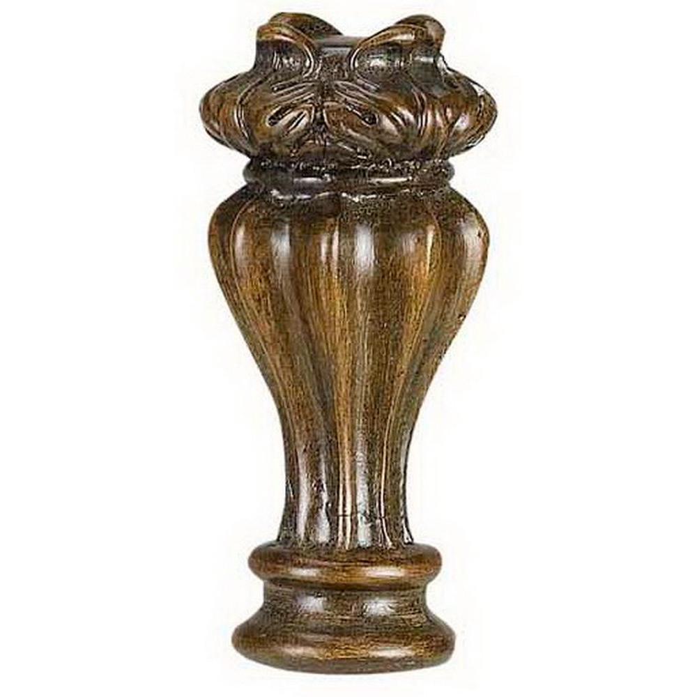 CAL Lighting 2.5 in. Brown Urn Resin Lamp Finial