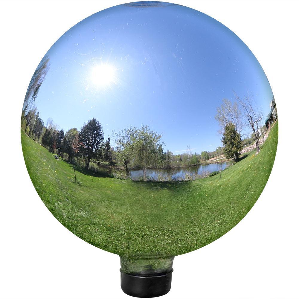 Mirrored Garden 10 in. Gazing Ball Yard Decor Silver