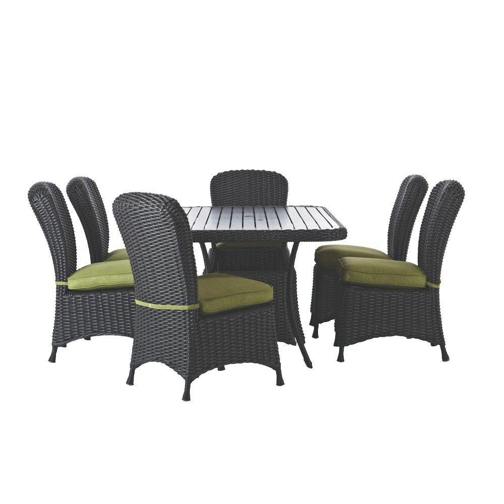 Martha Living Lake Adela Charcoal 7 Piece Patio Dining Set With Cilantro Cushions