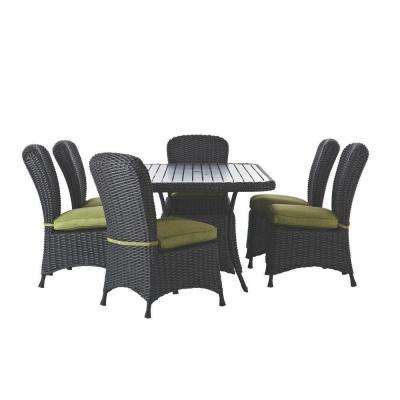 Lake Adela Charcoal 7-Piece Patio Dining Set with Cilantro Cushions