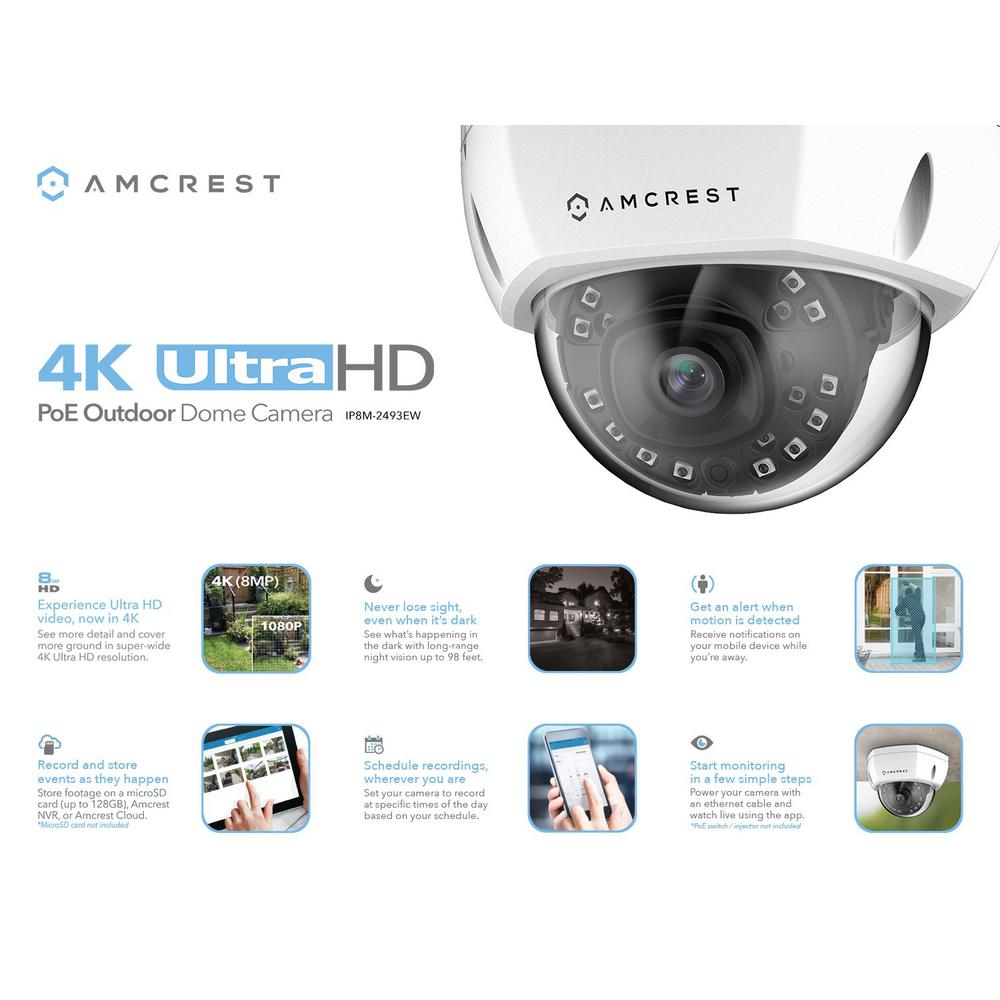Amcrest 4K Wired Outdoor Dome POE IP Surveillance Camera, 100Ft Cat5  Ethernet Cable (IP8M-2493EW-CAT5ECABLE100)