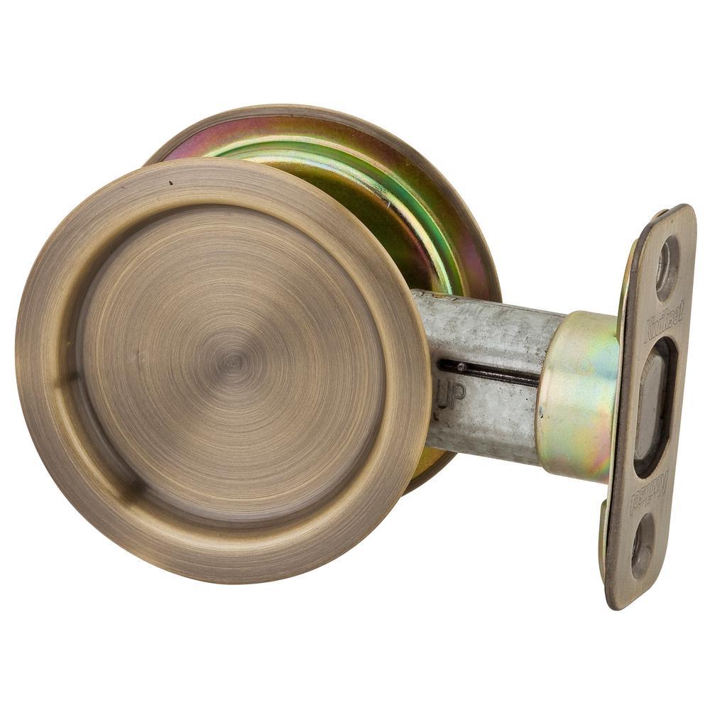 Marvelous Kwikset Round Antique Brass Hall/Closet Pocket Door Lock 334 5 RND PCKT DR  LCK   The Home Depot