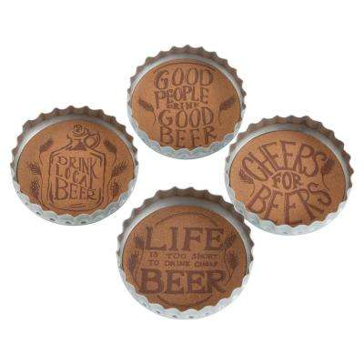 4-Piece Silver Bottle Cap Beer Coaster Set