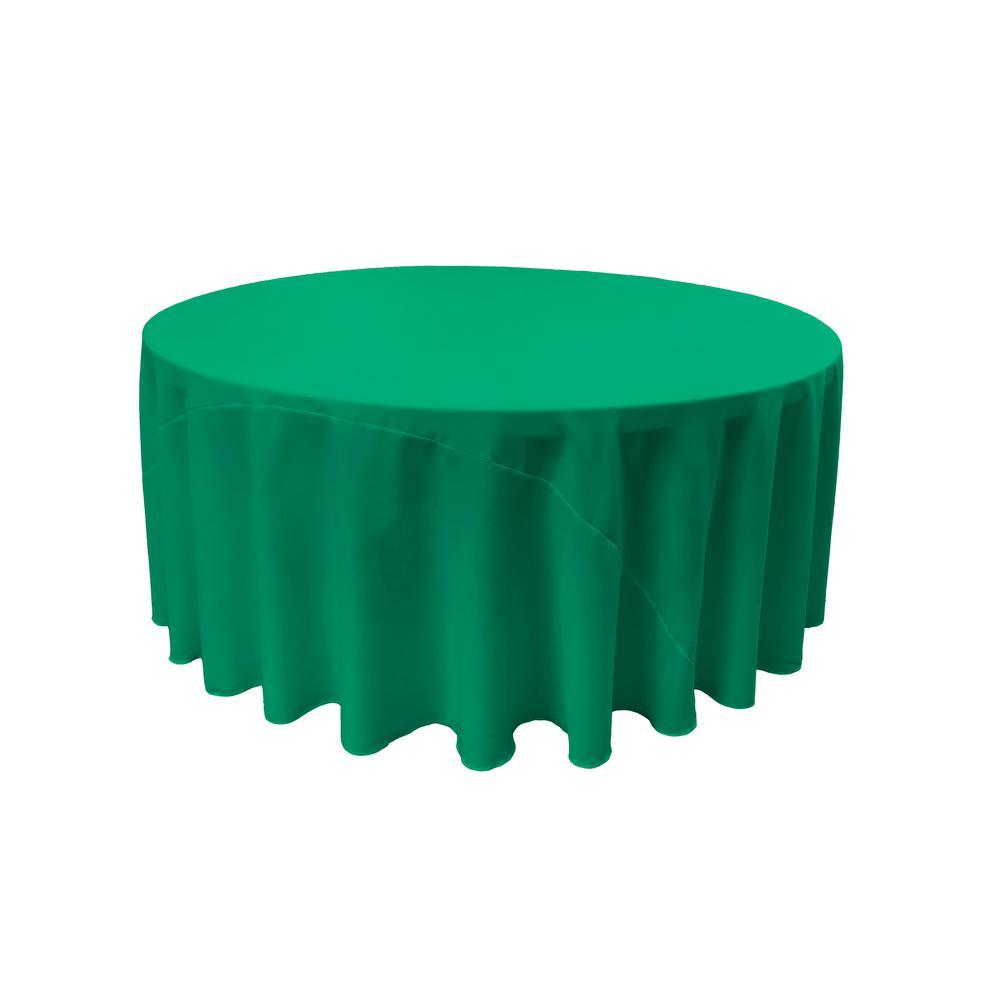 LA Linen 120 in. Jade Polyester Poplin Round Tablecloth TCpop120R_JadeP53
