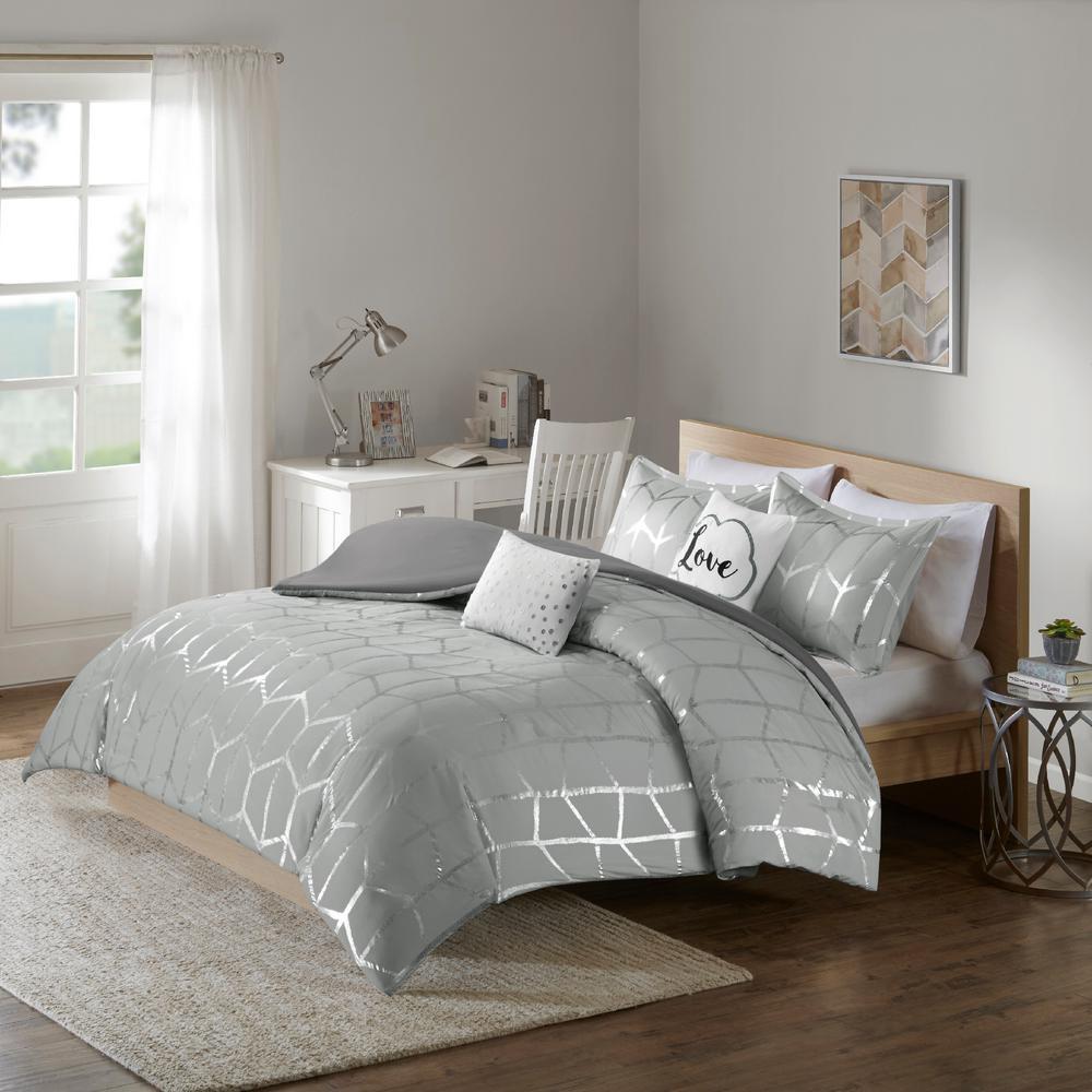Intelligent Design Khloe 5-Piece Grey/Silver Full/Queen Geometric Duvet Cover