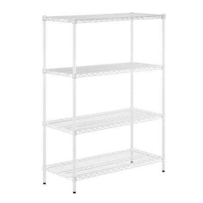 54 in. H x 42 in. W x 18 in. D 4-Shelf Steel Shelving Unit in White