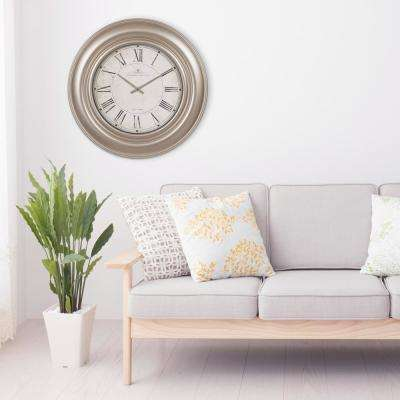 Glenmont Wide Roman Numeral Silver Wall Clock