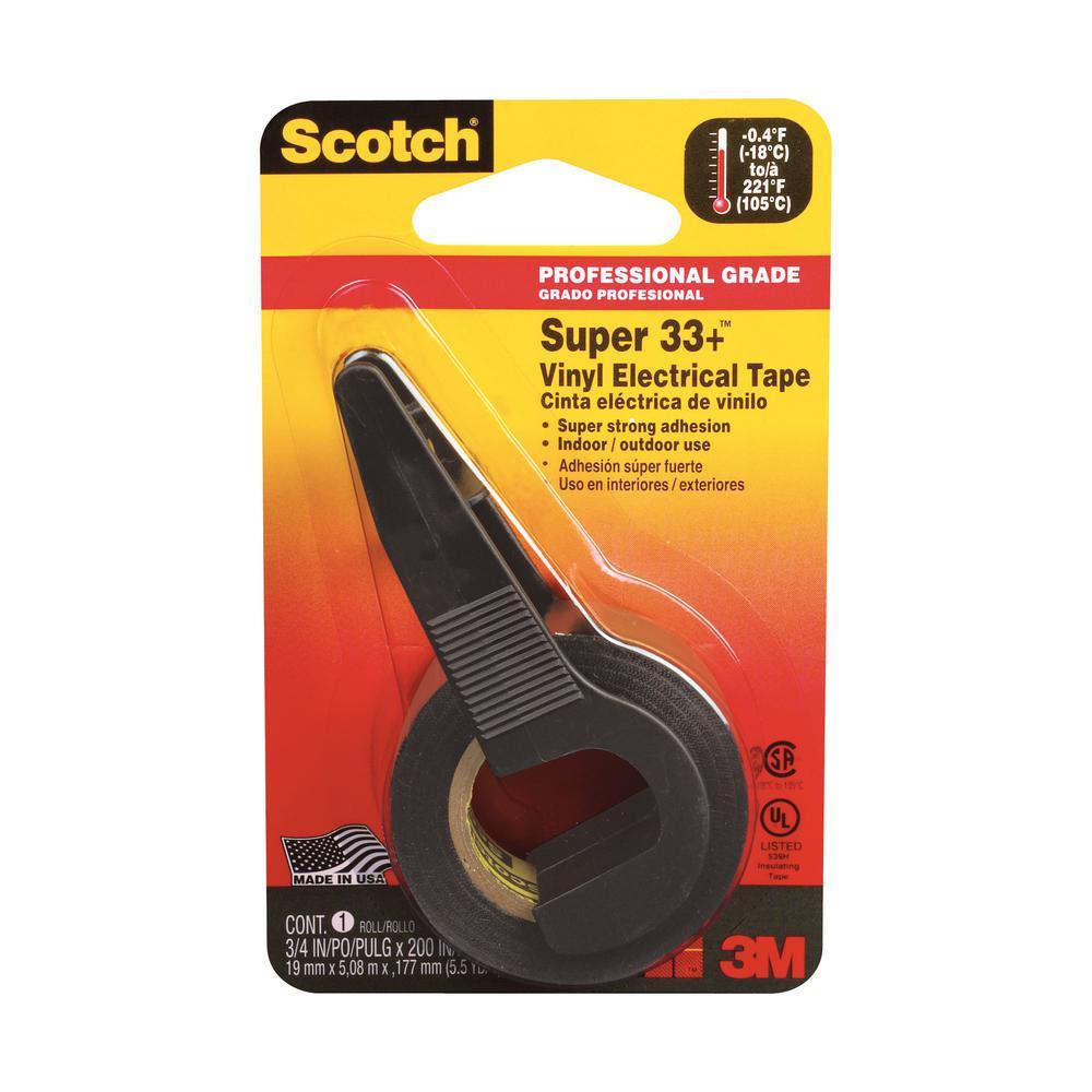 3M Scotch 0 75 in x 5 5 yd Super 33+ Vinyl Electrical Tape, Black