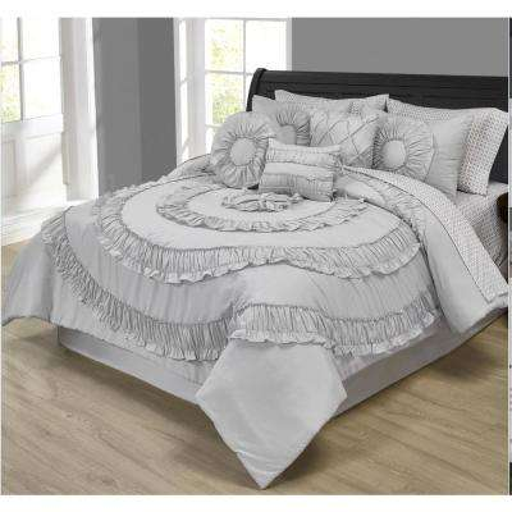 Jennifer Ruffled Silver 10-Piece Comforter Set