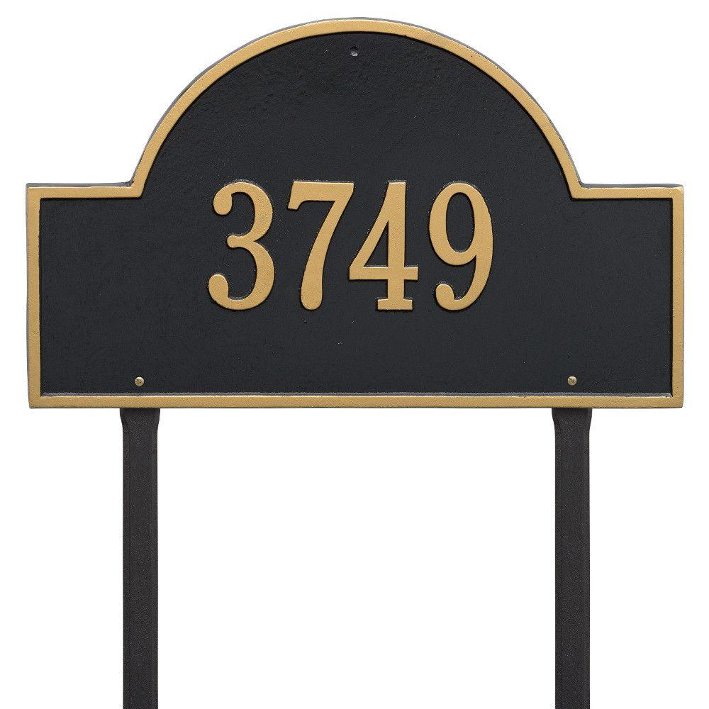 Arch Marker Estate Black/Gold Lawn 1-Line Address Plaque