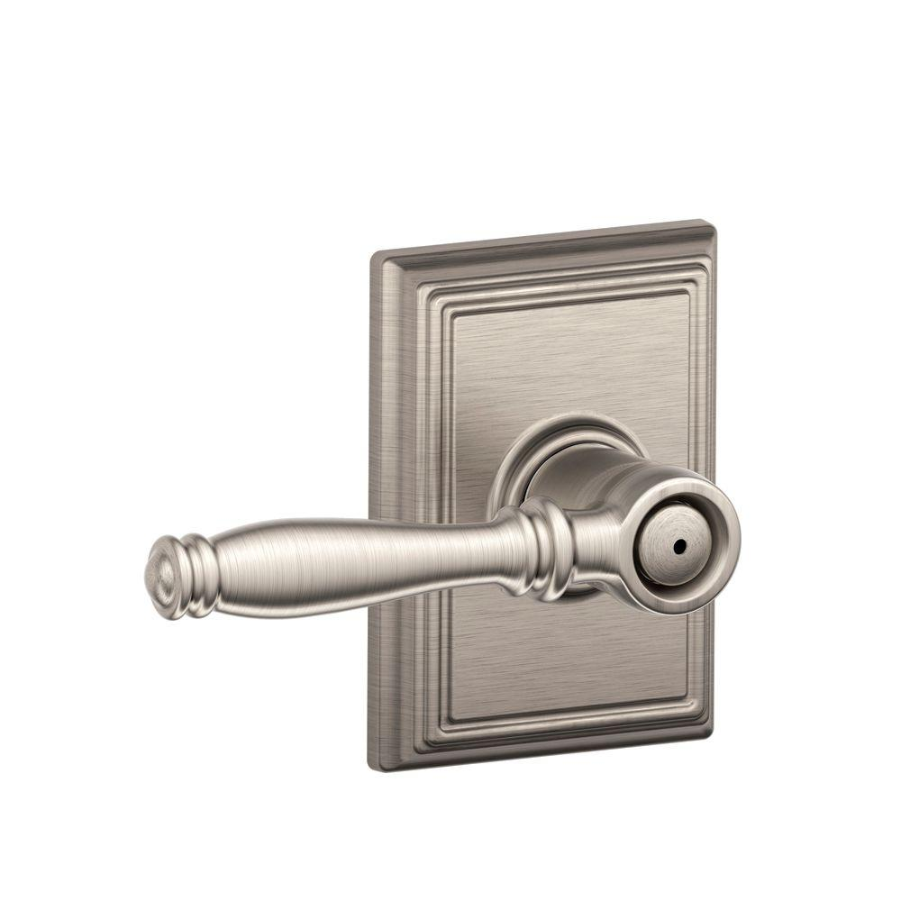 Schlage Birmingham Satin Nickel Privacy Door Lever with Addison Trim