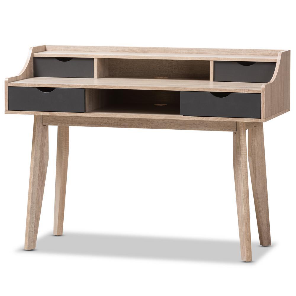 Baxton Studio 4 Drawer Fella Light Brown Wood Desk