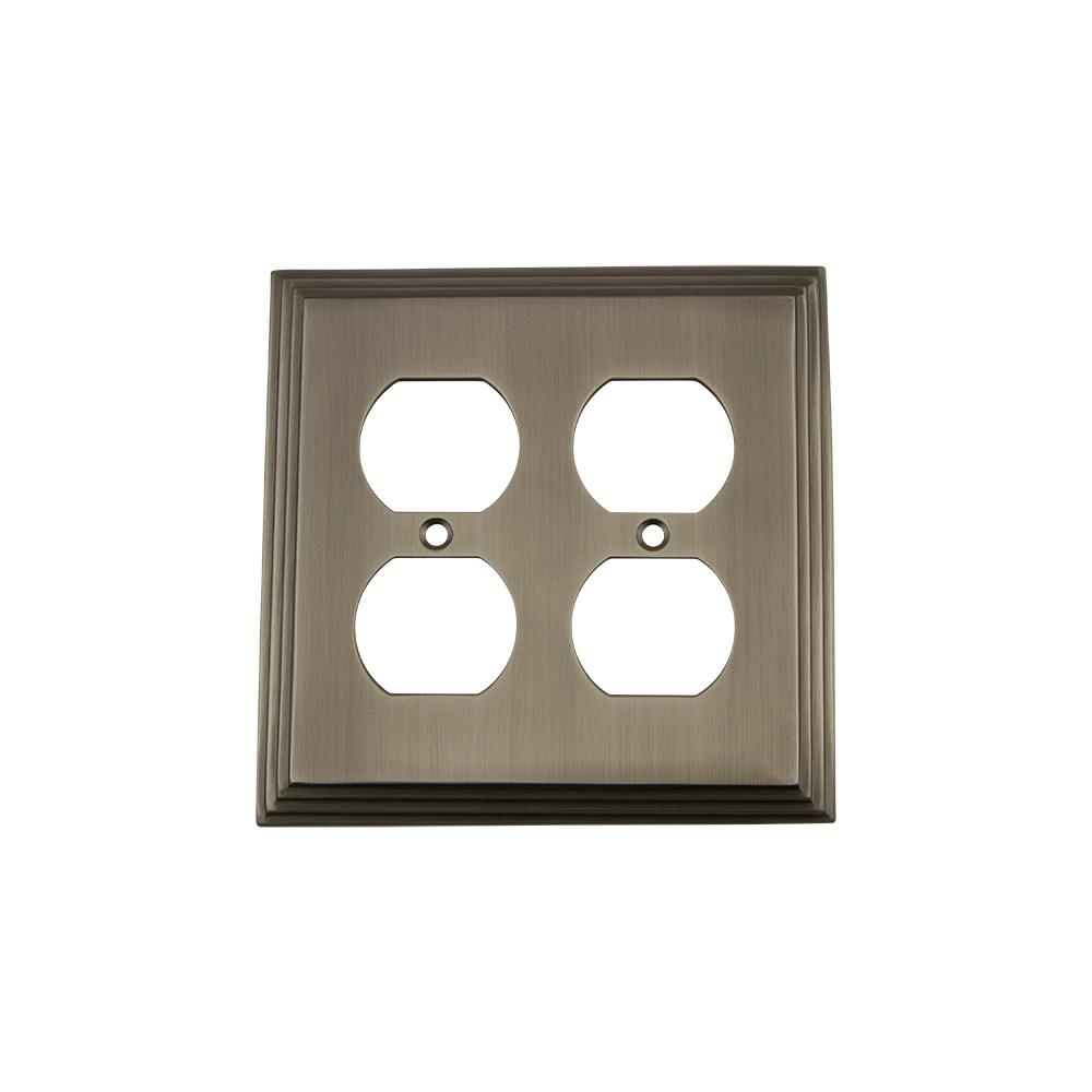 Deco Switch Plate with Double Outlet in Antique Pewter