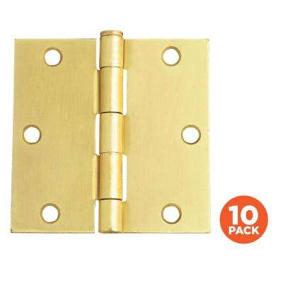 3-1/2 in. Square Corner Satin Brass Door Hinge Value Pack (10 per Pack)