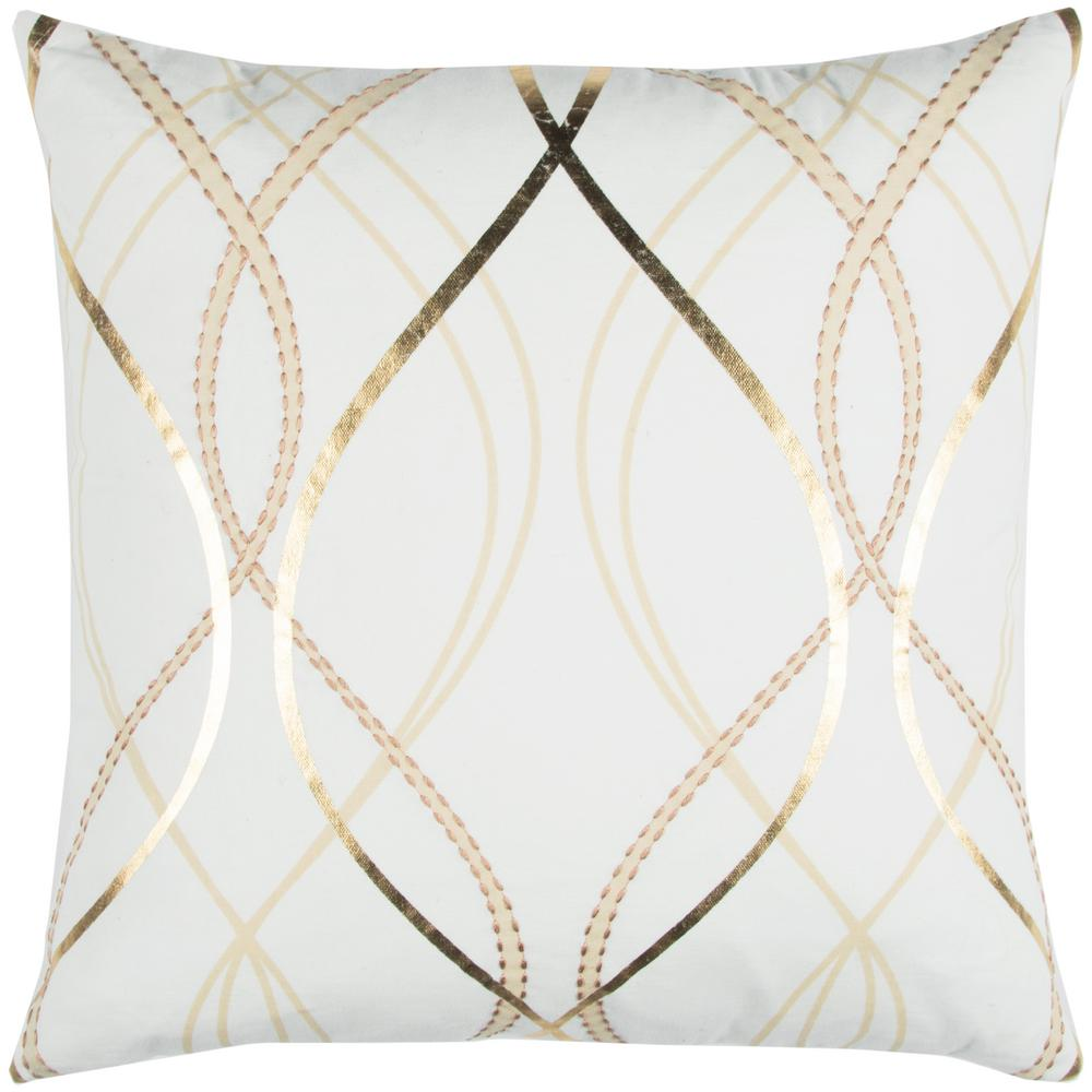 White and Gold Cotton 20 in. X 20 in. Decorative Filled