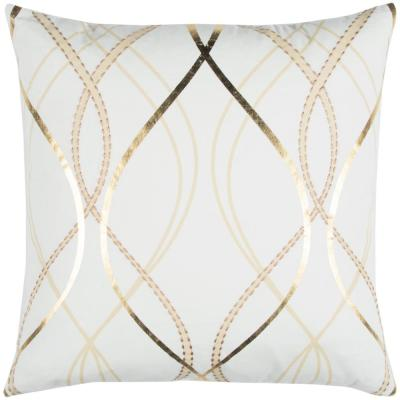 White and Gold Geometric Polyester 20 in. x 20 in. Throw Pillow