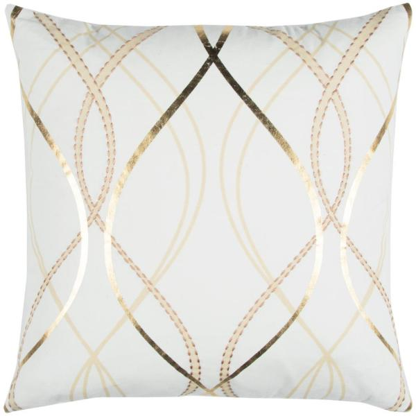 Donny Osmond Home White and Gold Cotton 20 in. X 20