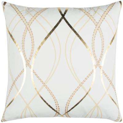 Geometric Gold Metallic Print 20 in. x 20 in. White Decorative Filled Pillow