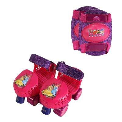 Princess Glitter Junior Size 6-12 Roller Skates with Knee Pads