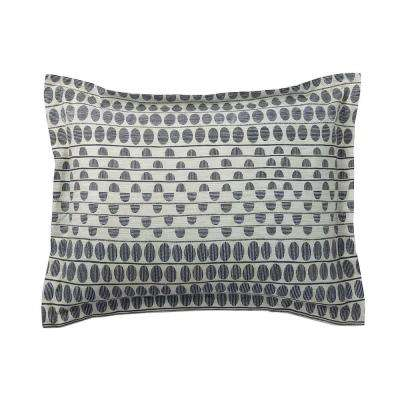 Engraved Dot Gray/Ivory Organic Percale King Sham
