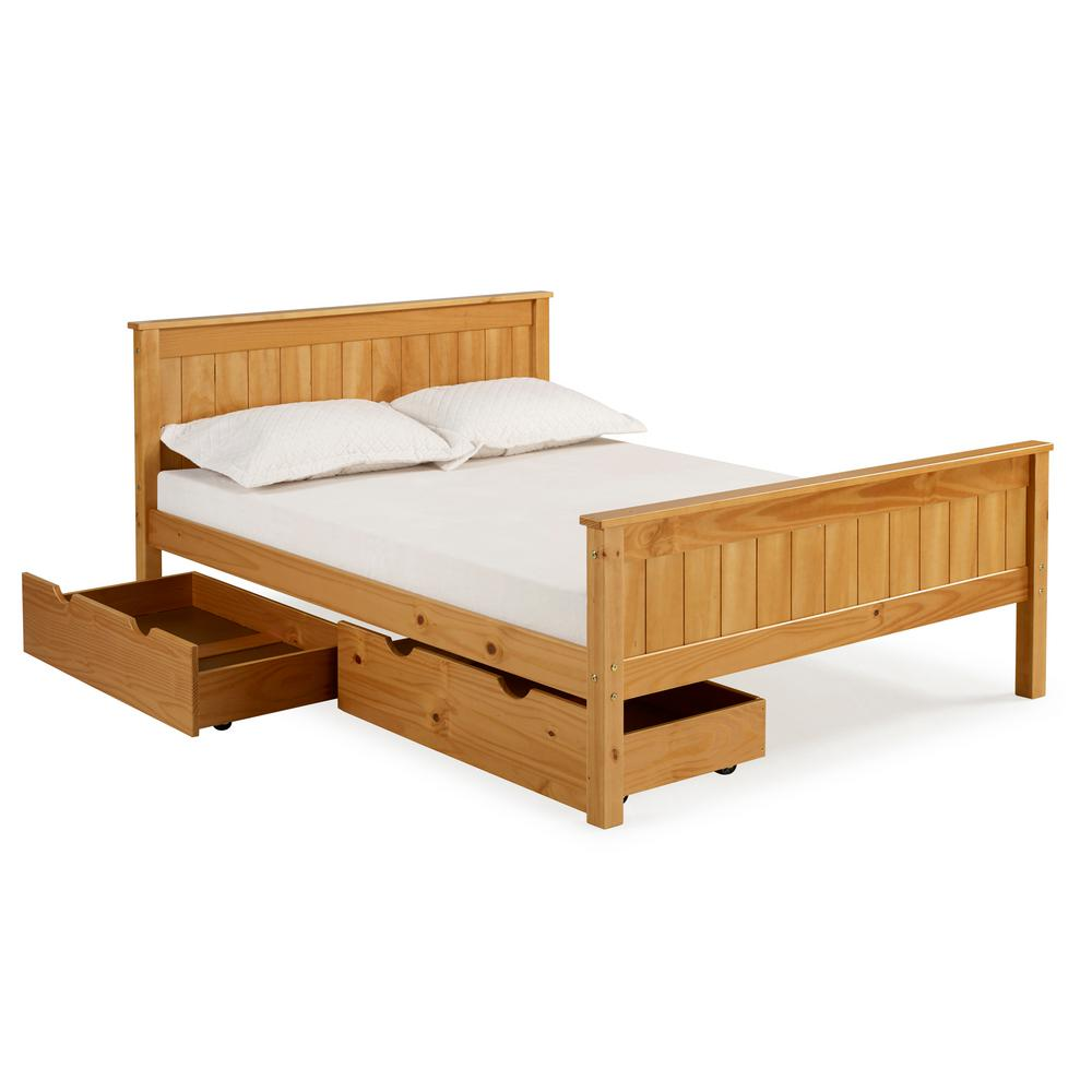 Alaterre Furniture Harmony Cinnamon Full Bed with Storage Drawers ...
