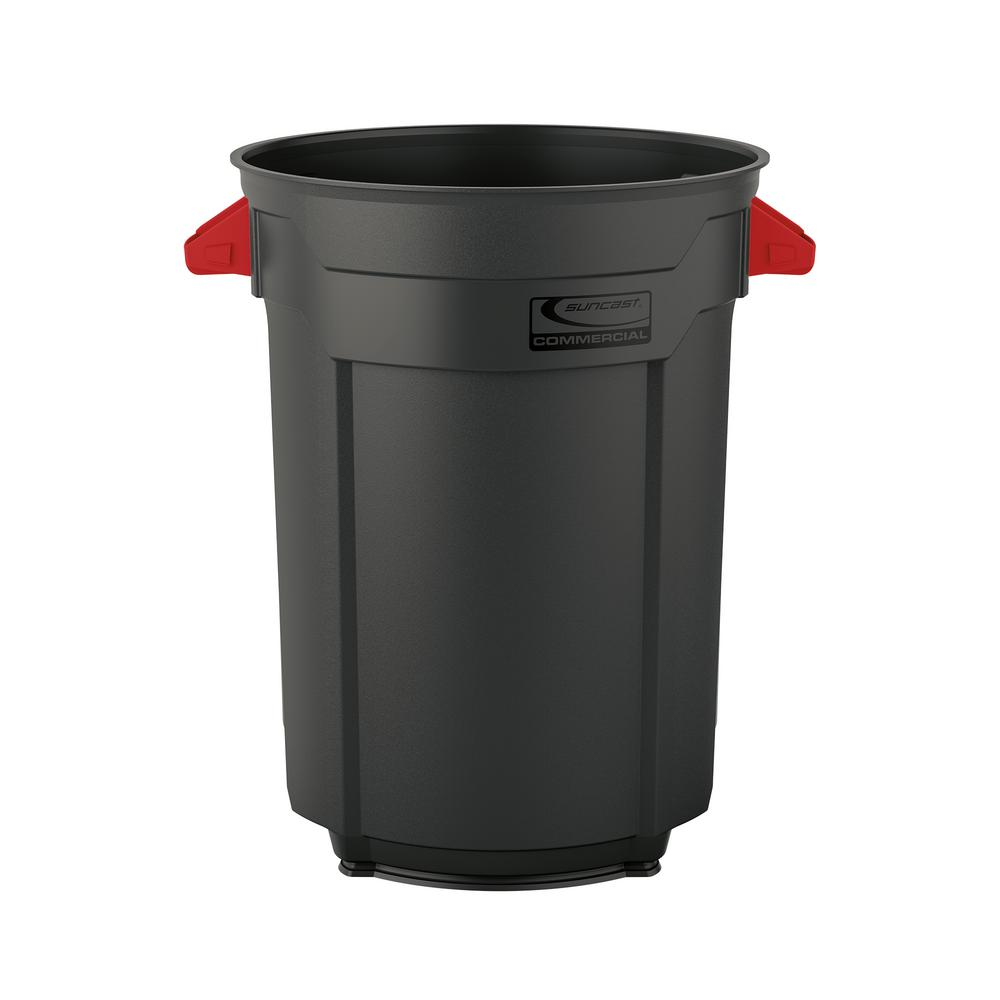 Suncast commercial 55 gal commercial utility trash can for Commercial bathroom trash cans