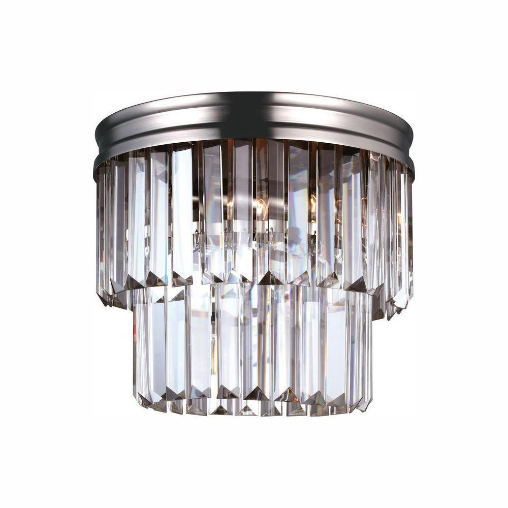 Carondelet 2-Light Antique Brushed Nickel Flush Mount with LED Bulbs