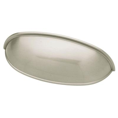 2-1/2 or 3 in. (64 or 76mm) Center-to-Center Brushed Satin Nickel Dual Mount Cup Drawer Pull