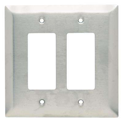 302 Series 2-Gang Jumbo Decorator Wall Plate in Stainless Steel
