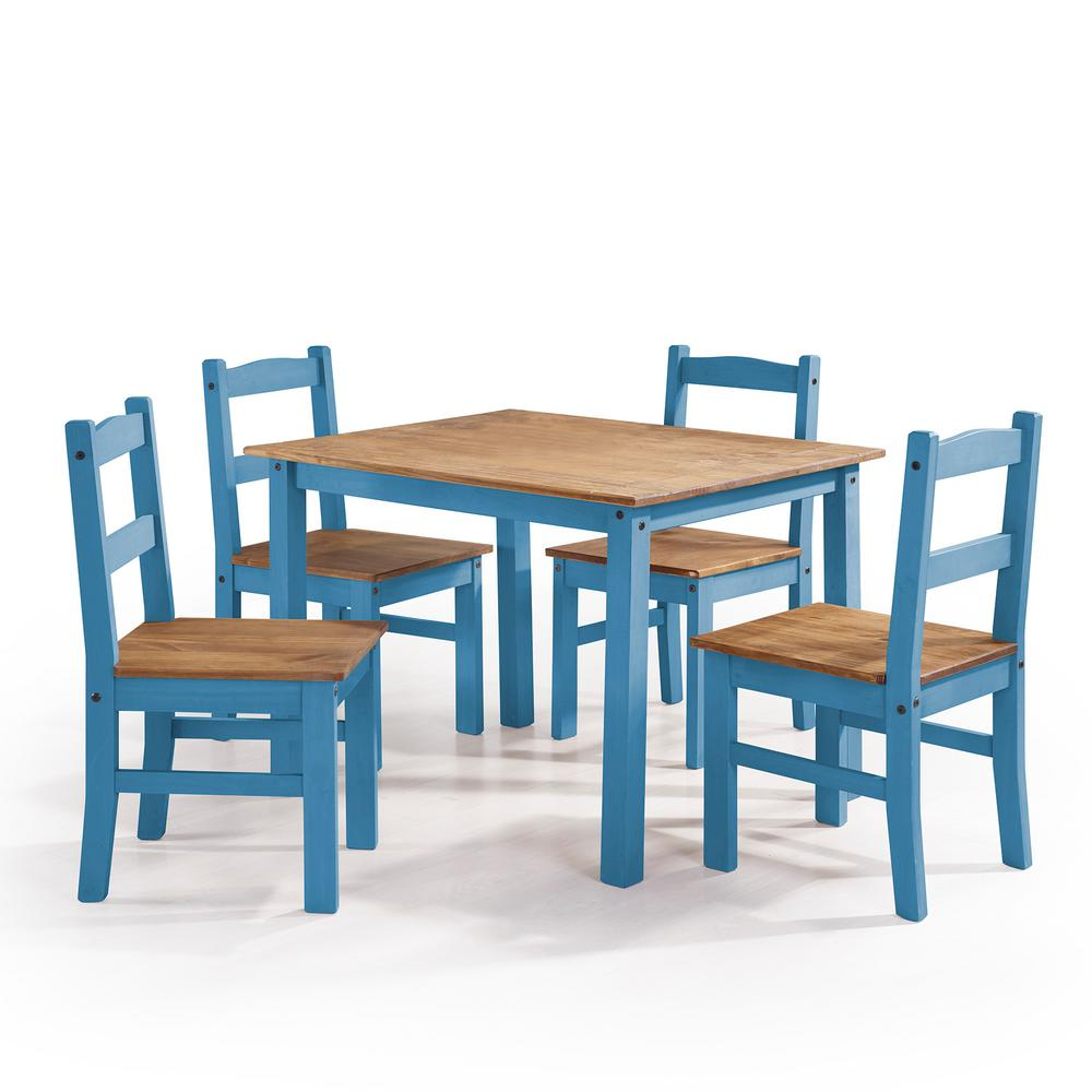 Manhattan Comfort York 5 Piece Blue Wash Solid Wood Dining Set With 1 Table