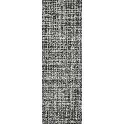"""London Collection Black 100% Wool 2'6"""" x 8' Hand-Tufted Tweed Area Rug"""