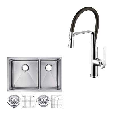 All-In-One Undermount Stainless Steel 32 in. 60/40 Double Bowl Kitchen Sink with Faucet in Chrome Sink Kit