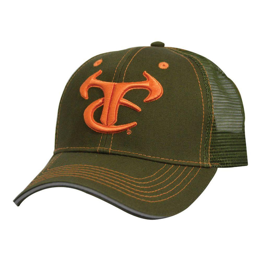 Men's Adjustable Olive Mesh Hat with Orange Logo