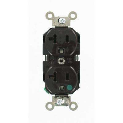 20 Amp Hospital Grade Extra Heavy Duty Self Grounding Duplex Outlet, Brown