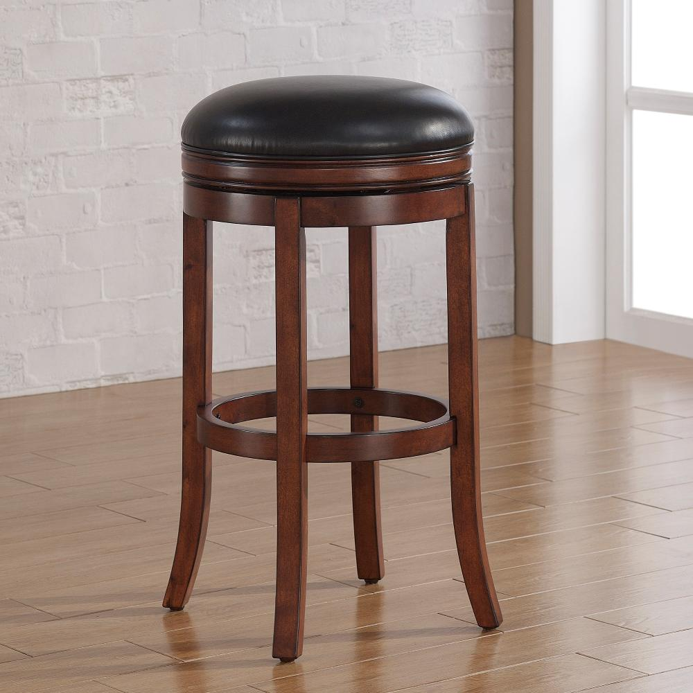 Medium walnut backless swivel tall bar stool