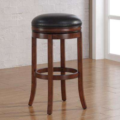 Stella 34 in. Medium Walnut Backless Swivel Tall Bar Stool