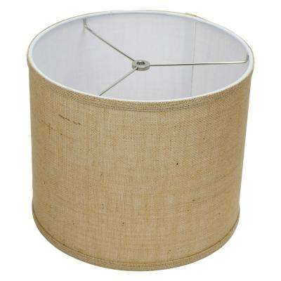 12 in. Top Diameter x 10 in. H x 12 in. Bottom Diameter Burlap Natural Drum Lamp Shade