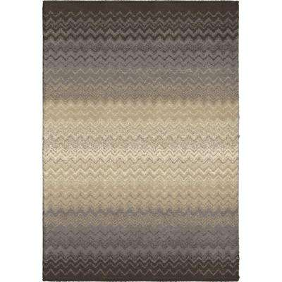 Waving Chevron Gray 7 ft. 10 in. x 10 ft. 10 in. Indoor Area Rug