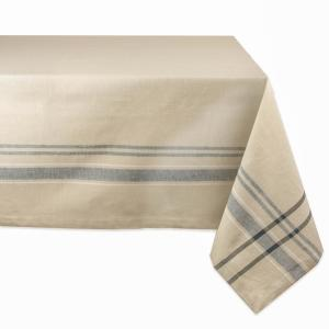 Chambray 60 in. x 104 in. Taupe with Black French Stripe Cotton Tablecloth