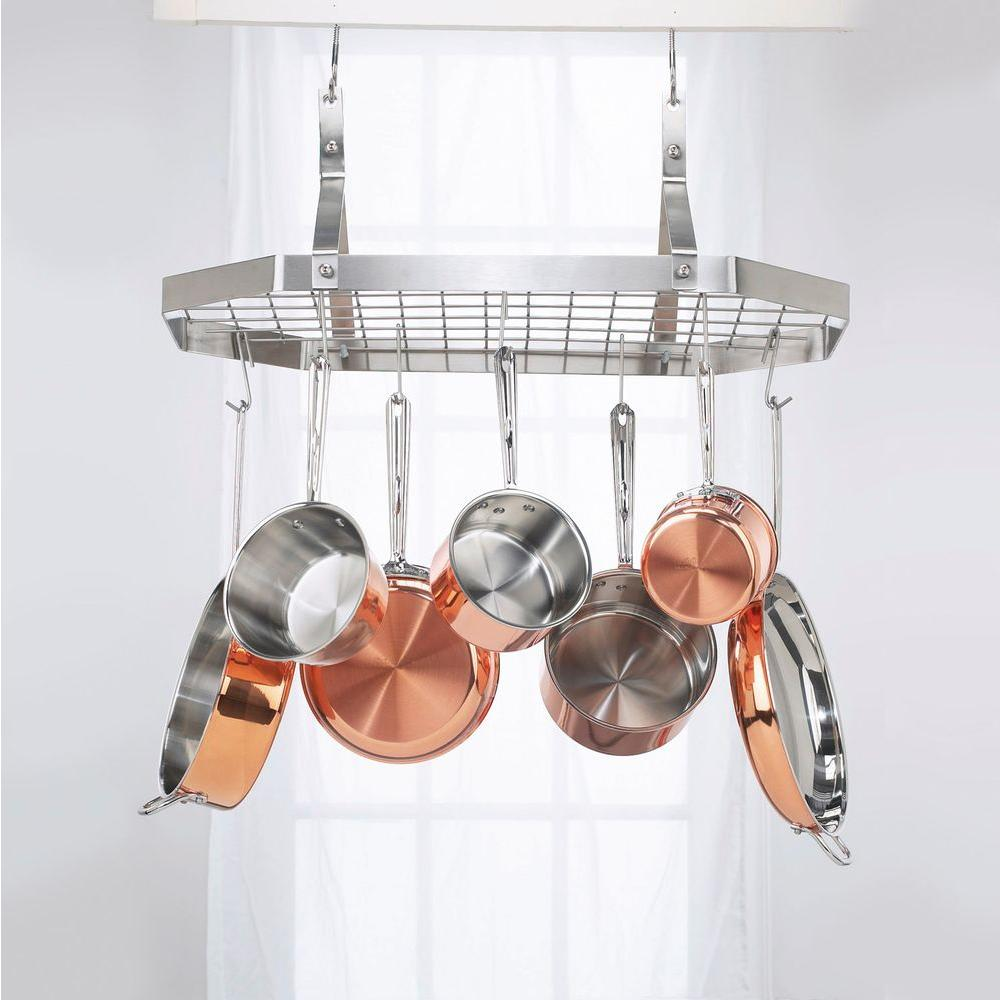 Details about Hanging Cookware Rack Pot Pan Holder Kitchen Storage  Organizer Ceiling Mount