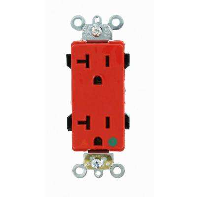 Decora Plus 20 Amp Hospital Grade Extra Heavy Duty Isolated Ground Duplex Outlet, Red