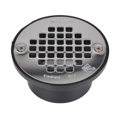Round Black ABS Area Floor Drain with 4 in. Round Screw-In Stainless Steel Drain Cover