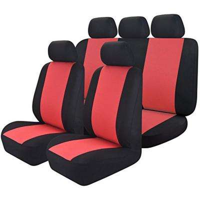 47 in. x 23 in. x 1 in 14PC Mesh Cloth Premium Seat Covers Universal Full Set For Car,SUV,Truck,or Van, Red/Black