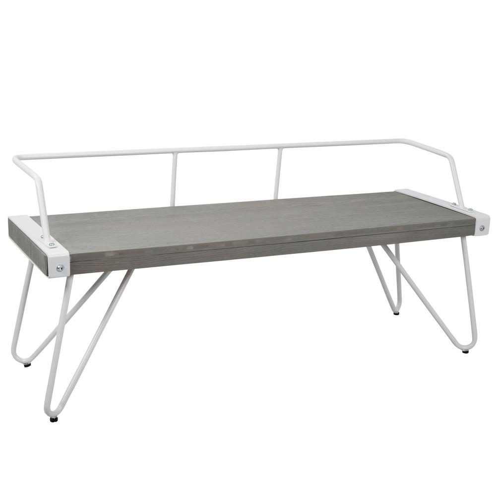 Lumisource Stefani Grey and White Industrial Bench, White...