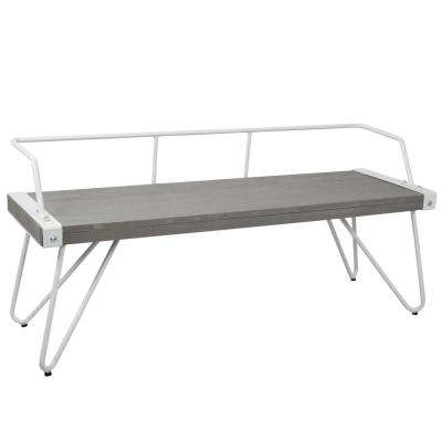 Stefani Grey and White Industrial Bench