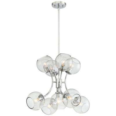 Exposed 9-Light Chrome Chandelier with Tinted Smoke Glass Shade