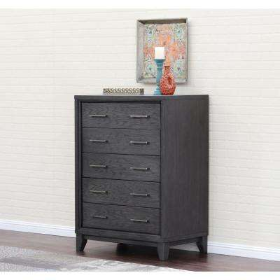 Chelsea 5-Drawer Gray Wash Chest
