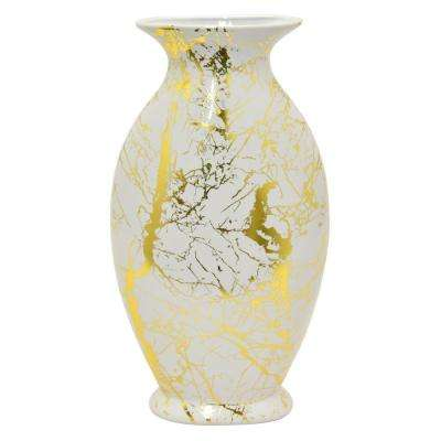 15 in. White Ceramic Vase